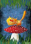 Sárga Mosolygó Macska a Mushroom-on (id: 5270) poszter