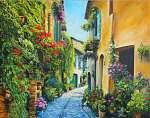 Virágos mediterrán utca (festmény) (id: 9970)