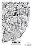 Vector poszter térkép város Lisszabon (id: 11971)