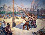 Maximilien Luce : Építőmunkások (id: 12071) vászonkép óra