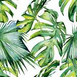Seamless watercolor illustration of tropical leaves, dense jungl vászonkép, poszter vagy falikép