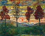 Egon Schiele: Négy fa (id: 12671) vászonkép óra