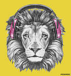 Portrait of Lion with headphones. Hand drawn illustration. vászonkép, poszter vagy falikép