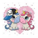 Two Cute Cartoon Unicorns on a heart background (id: 18671) falikép keretezve