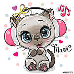 Cartoon Cat girl with headphones on a white background (id: 18971) vászonkép
