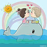 Cute Cartoon boy and girl are kissing (id: 19071) vászonkép