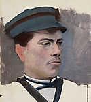 Mednyánszky László: Sapkás férfi portréja (részlet) (id: 19971) falikép keretezve