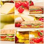 Sajt és zöldség szendvics kollázs (id: 4771) falikép keretezve