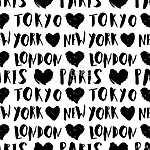 City Names Seamless Pattern (id: 15072) vászonkép óra