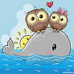 Cute Cartoon Owls are sitting on the whale (id: 19072) többrészes vászonkép