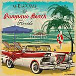 Welcome to Pompano Beach, Florida retro poster. (id: 19172)