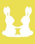 DIY - Húsvéti nyuszipár, sárga háttérrel (id: 4072) többrészes vászonkép