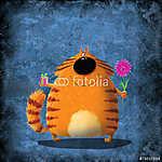 Sárga macska ajándékkal és virággal (id: 5272) vászonkép óra