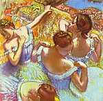 Edgar Degas: Balett-táncosnők kékben (id: 872) vászonkép óra