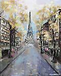 Olajfestmény, Párizs. európai városi táj. Franciaország, Háttérk (id: 10273) vászonkép óra