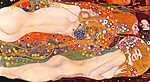 Gustav Klimt: Vízikígyók II. (1906-1907) - színverzió 1, fekvő (id: 13373) tapéta