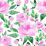 Floral seamless pattern. Watercolor background with flowers and  (id: 14173) falikép keretezve