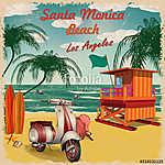 Santa Monica Beach, California retro poster. (id: 19173) többrészes vászonkép