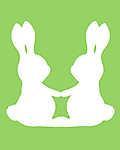 DIY - Húsvéti nyuszipár, zöld háttérrel (id: 4073) többrészes vászonkép