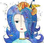 Mágikus tengeri királynő (akvarell) (id: 12374) többrészes vászonkép