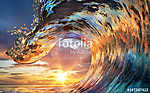 Colorful Ocean Wave. Sea water in crest shape. Sunset light and (id: 13974) tapéta