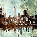 Grunge textured New York city skyline with dripping and copy space. (id: 15574) vászonkép