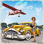 Vintage background with biplane, pin-up girl and retro car. (id: 19174)
