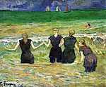 Paul Gauguin: Fürdőző nők - színverzió 1. (1885) (id: 3974)
