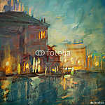 éjszakai táj Velencébe, olajfestés vászonra (id: 4974) poszter
