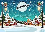 Vidéki vidéki karácsonyi függőleges (id: 7174) vászonkép