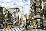 vászonfestmény, utcai kilátás New Yorkban, férfi és nő,  (id: 10275) tapéta