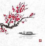 Oriental sakura cseresznyefa virágban és halászhajó vízben (id: 10475) falikép keretezve