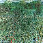 Gustav Klimt: Kert virágokkal, fákkal (id: 1075) poszter