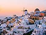 Thira (Santorini) lemenő nap fényében, Görögország (id: 14375) vászonkép