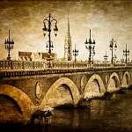 Bordeaux folyó híd St Michel katedrálisával (id: 5075) falikép keretezve