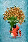 Virág macska (id: 5275) többrészes vászonkép