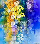 Akvarell festés fehér virágok és puha zöld levelek. Kék együttmű (id: 9075) vászonkép óra