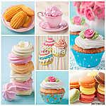 Pasztell színű sütemények kollázs (id: 10676)