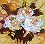 Fehér rózsák, kézzel készített festészet (id: 10876) vászonkép óra
