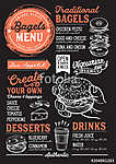 Bagels restaurant menu. Vector sandwich food flyer for bar and c (id: 13676) vászonkép