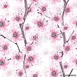Blossom. Watercolor seamless floral pattern. Hand drawn backgrou (id: 14076) vászonkép óra