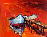 Csónakok és óceán (id: 4376) többrészes vászonkép