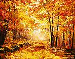 olajfestmény táj - színes őszi erdő (id: 4876) poszter