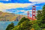 San Francisco Golden Gate híd festészet (id: 5076) többrészes vászonkép