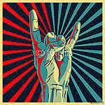 Hand in rock n roll jel, vektor Eps10 illusztráció. (id: 5576) vászonkép óra