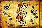 afro motívum etnikai retro vintage (id: 7276) falikép keretezve
