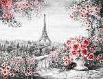 Olajfestmény, nyáron Párizsban. kedves városi táj. virágos rózsa (id: 10277) vászonkép óra