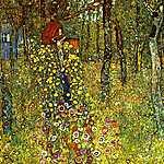 Gustav Klimt: Virágoskert feszülettel (id: 1077) vászonkép óra