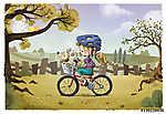 lány kerékpárral a pályán (id: 12477)