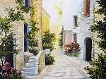oil painting - Italian street, colorful watercolour (id: 13177) tapéta